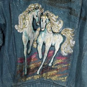 Denim Jean Jacket Hand Painted Elco Two Horses LG